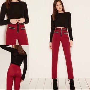 Reformation High Rise Pistol Pants Crimson 0 Red